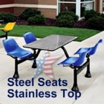 Cafeteria Table 1004, Steel Seats/Stainless Tops.
