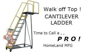 Cantilever overhang rolling ladder
