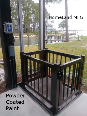 Special Brown Powder Coat paint. CUSTOMER installed in recessed concrete decking.