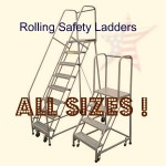 Rolling Ladders Are Available In Several Heights, Widths, Materials, Strengths, and Platform Lengths