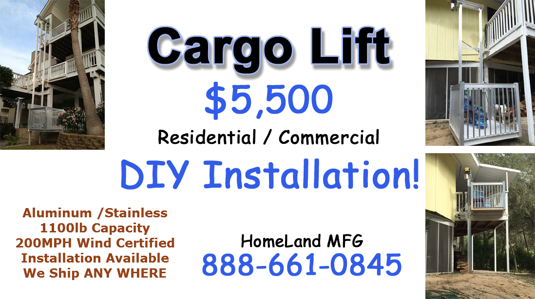 Cargo lifts for 2 story elevator cost