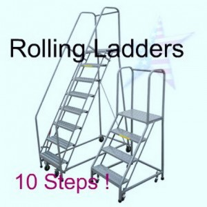rolling 10 step ladders