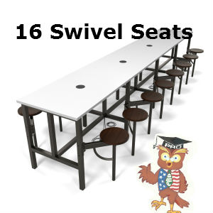 cafeteria seating 16 individual pull out seats or standing