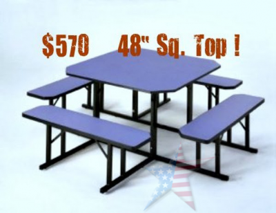 Cafeteria Bench Seating blue laminate squre top