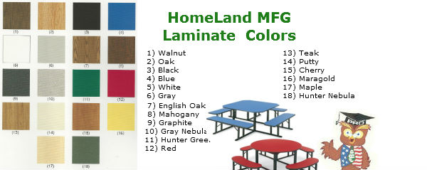 Barricks Manufacturing Cafeteria Tables color chart