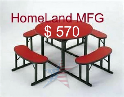 Cafeteria round Bench seating red laminate