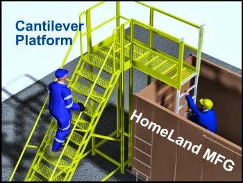 Cantilever cross over ladder for rail cars