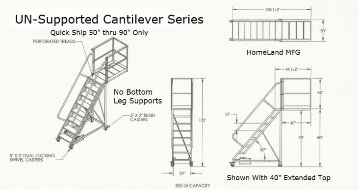 Cantilever ladder Unsupported drawing measurements