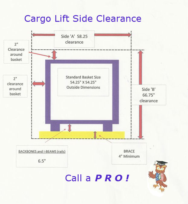 cargo lift space requirements for installation