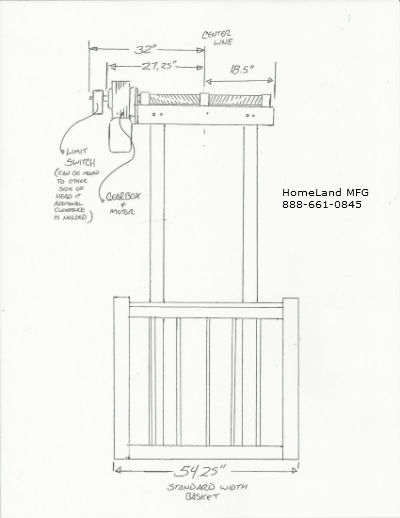 cargo lift line drawing of measurements