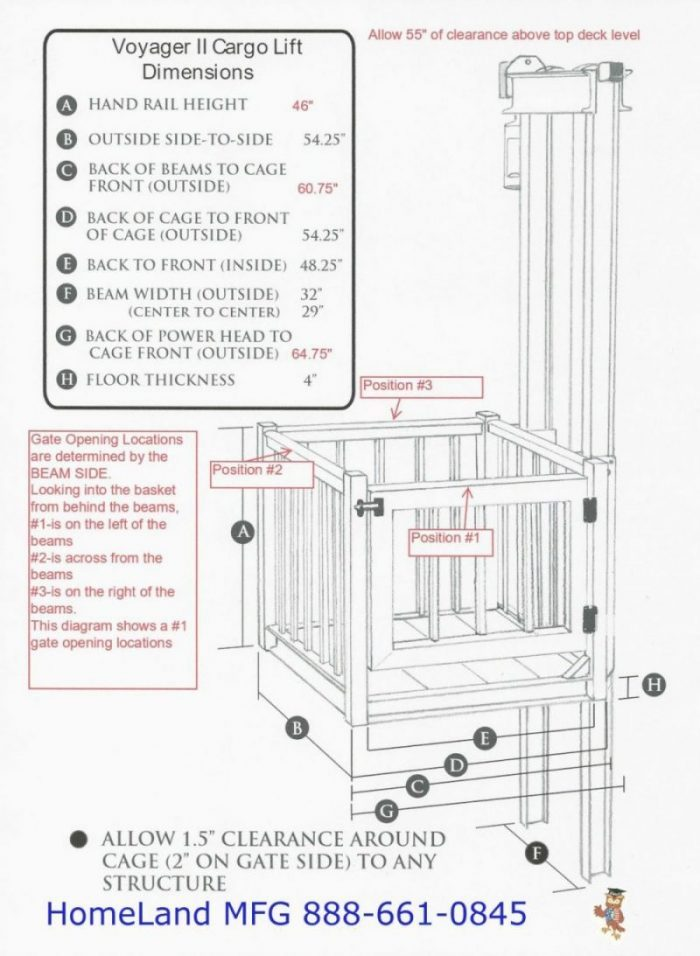 cargo lift basket dimensions with support poles