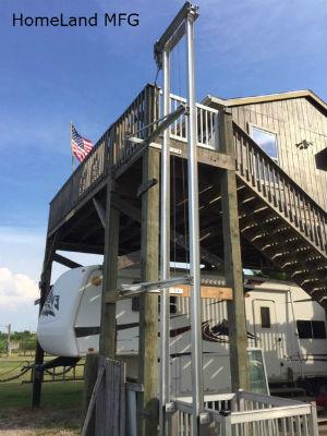 cargo lift for stilt homes on beach