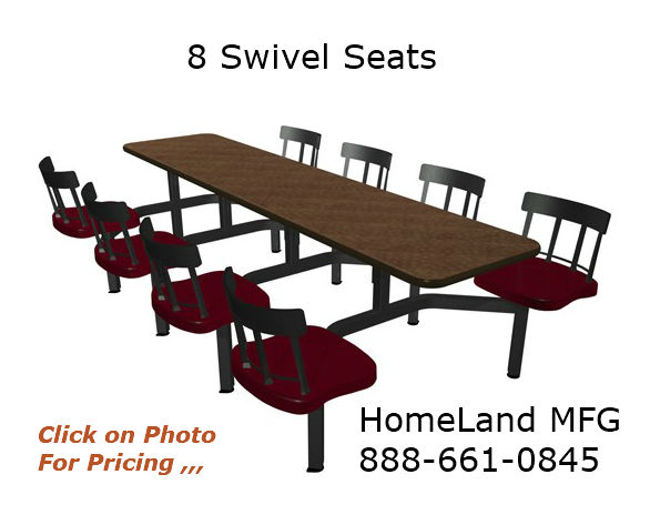 cafeteria seating for 8 people with seat backs