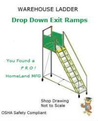 rolling ladder with drop down exit bridges