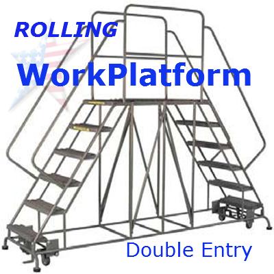 Maintenance work platform double safety railing