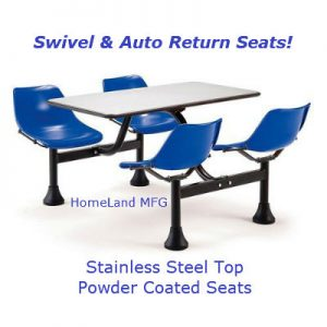 Cafeteria table blue seats and stainless top