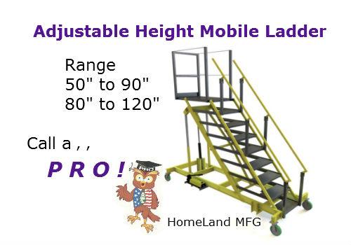 Tri-Arc-ALS80120 adjustable height mobile ladder