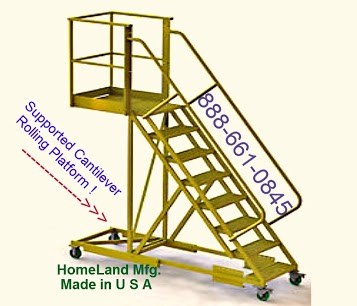 tri arc Cantilever Rolling Ladder supported yellow