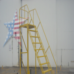 Warehouse Ladder w/Levelers & Painted Safety Yellow