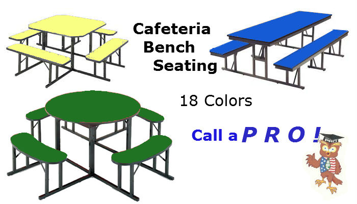Barricks Manufacturing Cafeteria Tables square or round benches