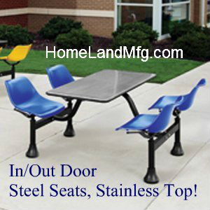 Cafeteria cluster seating 1004ss powder coated painted seats
