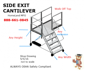 cantilever side exit with extended decking