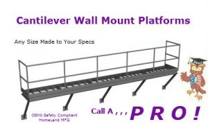caantilever wall mount platform with supports