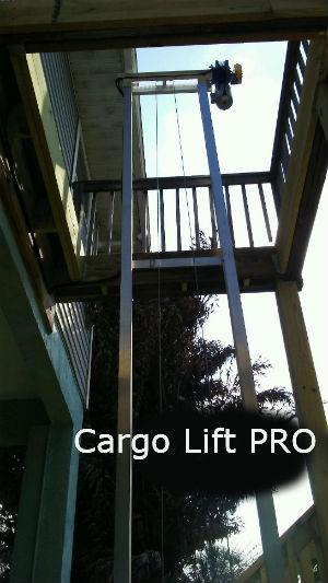 cargo lift thru wood decking showing supports