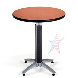 round laminate top table with mesh base
