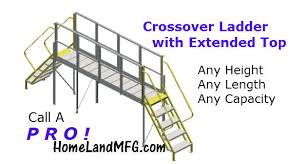 cross over ladder with extended decking