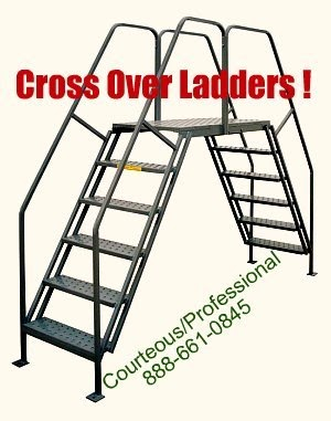 Portable cross over ladder with leg pads