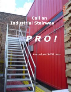 access stairway on red steel building
