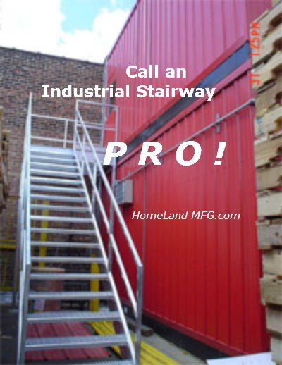 Industrial Stairway with decking outdoors to red building