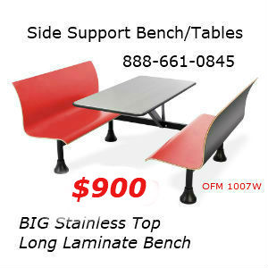 Cafeteria bench seating for walls