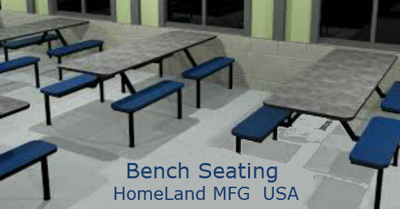 cafeteria bench seating gray top blue seats