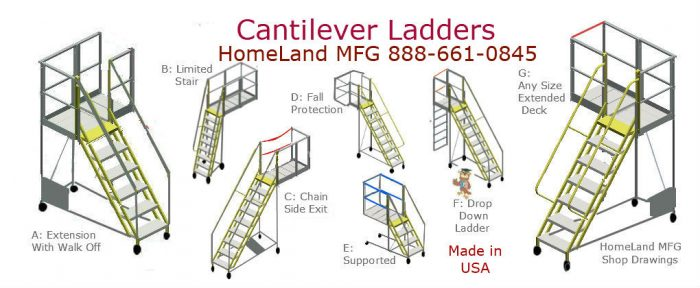 cantilever ladders with extended decking and custom options