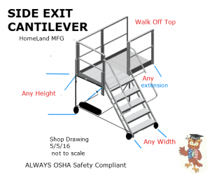 warehouse ladder with side exit