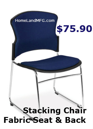 stacking chair with blue fabric