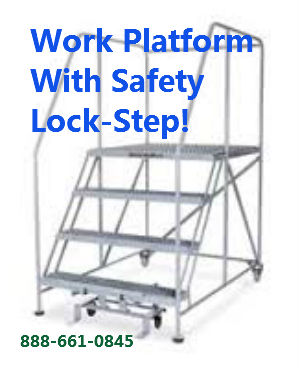 4 step work platform safety handrails